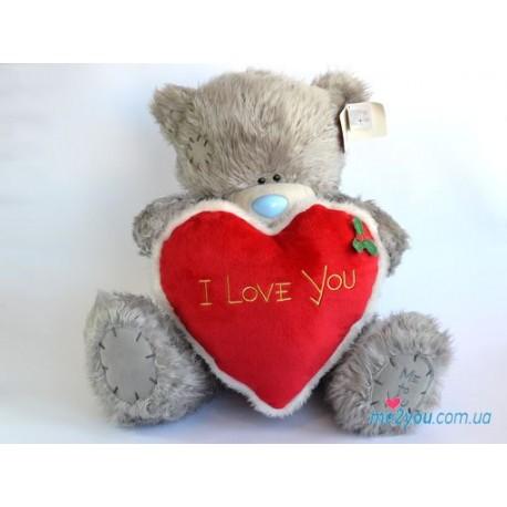 Мишка Тедди с большим красным сердцем (G01W1216)