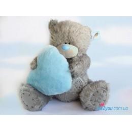 Мишка Тедди с голубым меховым сердцем (G01W2017)
