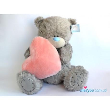 Мишка Тедди с розовым меховым сердцем (G01W2018)