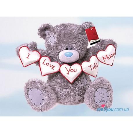 Мишка Тедди держит гирлянду из сердец (G01W2055)