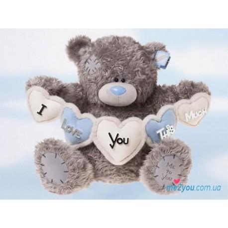 Мишка Тедди с гирляндой из сердец (G01W1174)