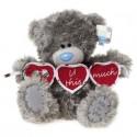 Мишка Teddy держит три сердечка с надписью Love U this much 25 см (G01W2383)