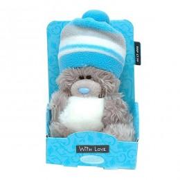 Мишка Me to you в голубой шапке держит снежок 13 см (G01W3033)