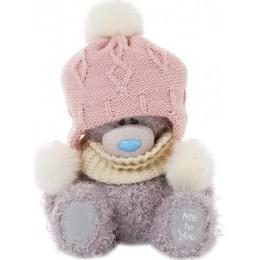Мишка Митую в розовой шапке с пумпонами и шарфе 18 см (G01W3294)