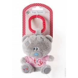 Мишка-пищалка Teddy в розовой футболке (на коляску) 10 см (G92W0123)