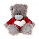 Мишка Тедди в красном свитере с сердцем 13 см (G01W3809)