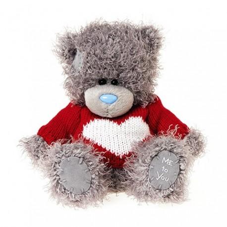 Мишка в красном свитере с сердцем (G01W3809)