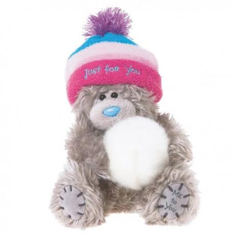 Мишка Me to you в розовой шапке держит снежок Just for You 13 см (G01W2766)