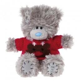 Мишка MTY в свитере с оленем 13 см (G01W2982)