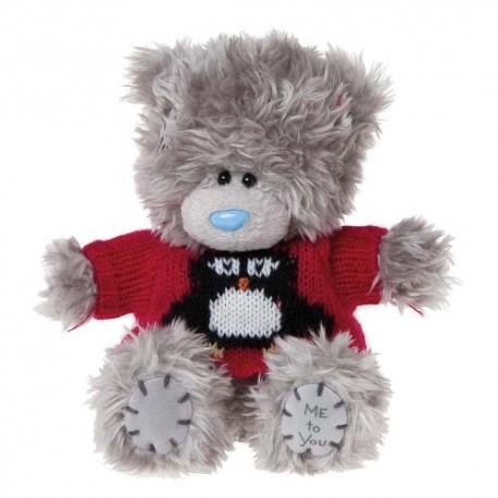 Мишка Ми ту ю в свитере с пингвином 13 см (G01W2963)