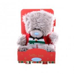 Мишка Тедди в свитере со снеговиком 13 см (G01W2960)