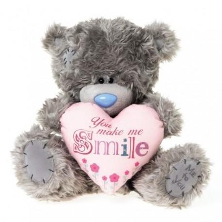 Мишка Тедди держит розовое сердце с надписью YOU MAKE ME SMILE 25 см (G01W3193)