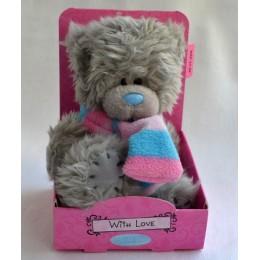 Мишка Митую в шарфе в розовую полоску 13 см (G01W3032)