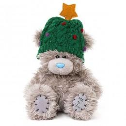 Мишка Ми ту ю в зелёной шапке со звёздочкой 13 см (G01W3717)