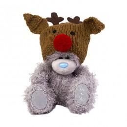 Мишка Митую в коричневой шапке с рожками 13 см (G01W3715)