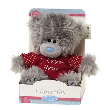 Мишка Teddy в красной футболке I Love You 13 см (G01W2388)