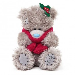 Мишка Митую в красном шарфе 13 см (G01W3711)