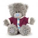 Мишка Teddy в малиновом комбинезоне 13 см (G01W3745)