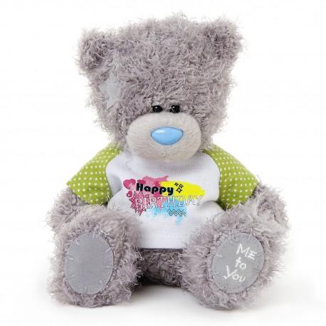 Мишка Тедди в футболке Happy Birthday 18 см (G01W3407)