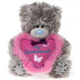 Мишка Me to you держит розовое пушистое сердце My Sweetheart 13 см (G01W2795)
