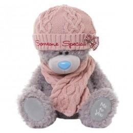 Мишка Тедди Me to you в розовой вязаной шапке и шарфе 30 см (G01W3273)