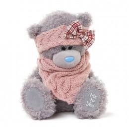 Мишка Teddy в розовом вязаном шарфе 20 см (G01W3288)