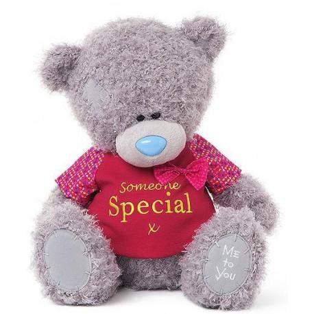 Мишка MTY с бантиком в красной футболке I Love You 30 см (G01W3509)