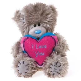 Мишка Teddy держит розовое сердце I Love You 13 см (G01W2896)
