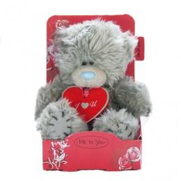 Мишка Ми ту ю с красной подвеской I Love You 13 см (G01W2864)