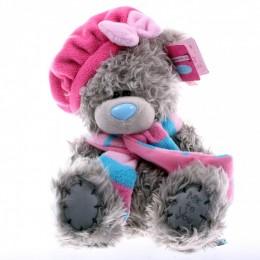 Мишка Тедди в розовом берете и шарфе 20 см (G01W3034)