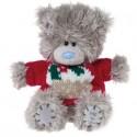 Мишка Тедди в красном новогоднем свитерке 13 см (G01W2962)