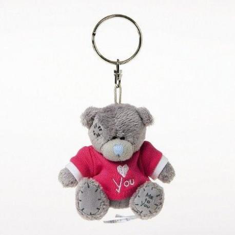 Брелок для ключей Мишка Тедди в красной футболке I LOVE YOU 7,5 см (G01W3007)