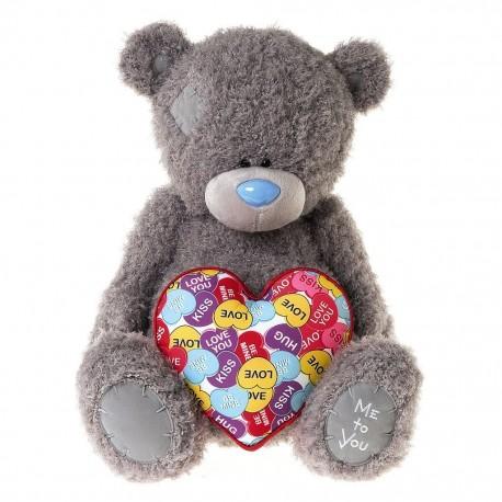 Мишка Ми ту ю с разноцветным сердцем 60 см (G01W3495)