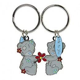 Брелок для ключей двойной Мишки Teddy держат цветок (G91K0058)