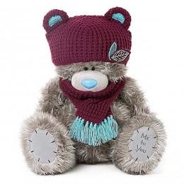 Мишка Тедди Me to you в шапке с ушками и в шарфе 41 см (G01W3773)