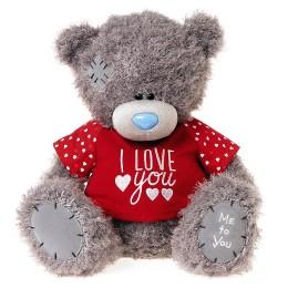 Мишка Ми ту ю в красной футболке I love you 41 см (G01W3829)