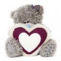 Мишка MTY с белым меховым сердцем в лапах 23 см (G01W3796)