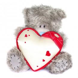 Мишка Тедди с белым атласным сердечком 23 см (G01W2046)