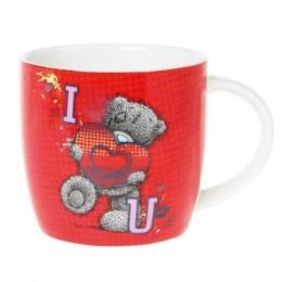 Красная кружка с Мишкой Митую I Love U (G01M0288)