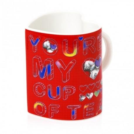 Красная чашка в форме сердца с мишкой Тедди (G91M0024)