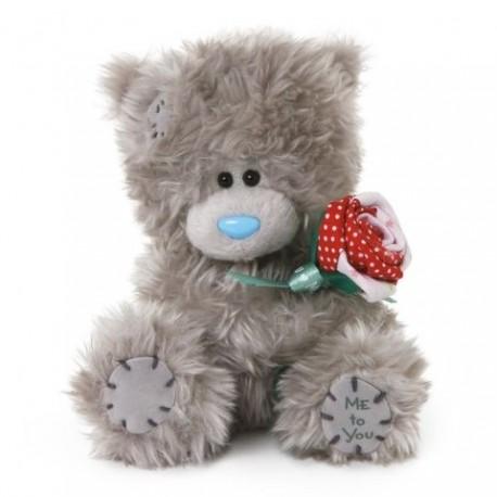Мишка Тедди с розочкой в лапках 13 см (G01W2380)