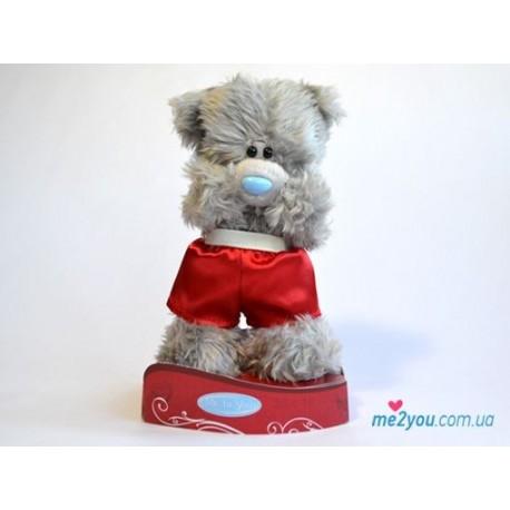 Мишка Тедди стоит в красных шортах 13 см (G01W2036)