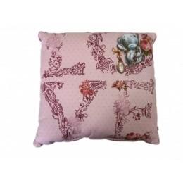 Подушка розовая с Мишка Тедди держит часы LOVE (G91Q0311)