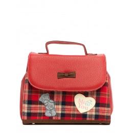 Красный портфель с Мишкой Teddy в крупную клетку