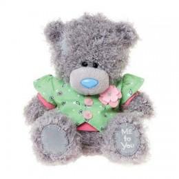 Мишка Тедди в зелёной жилетке с цветочком 18 см (G01W3392)