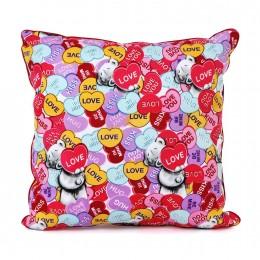 Подушка квадратная Мишка Тедди с сердцами (G01Q6181)