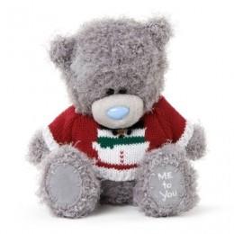 Мишка Митую в красном свитерке со снеговиком 18 см (G01W3328)