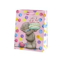 Маленький подарочный пакет Мишка угощает пироженым