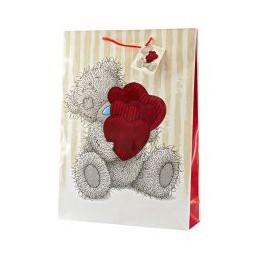 Большой подарочный пакет Мишка Тедди с охапкой сердец