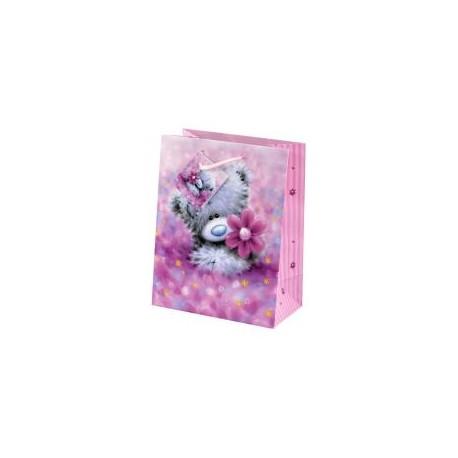 Розовый небольшой подарочный пакет Metoyou Мишка Тедди с ромашкой